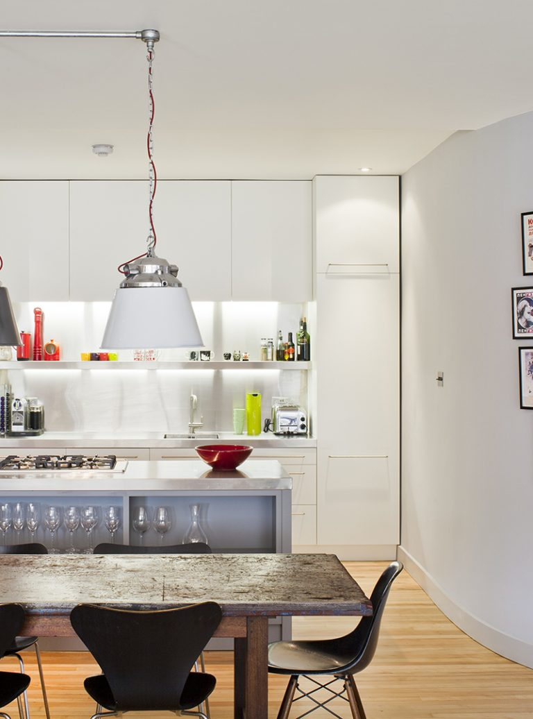 Clerkenwell Loft Renovation | Custom Kitchen | Stainless Worktops | Reclaimed Lighting | Architect | Building Contractor | Design and Build | Construction | Interior Design | Building | Refurbishment | Cambridge | London | Suffolk | Essex | Saffron Walden | Hertfordshire | The Daniels Group