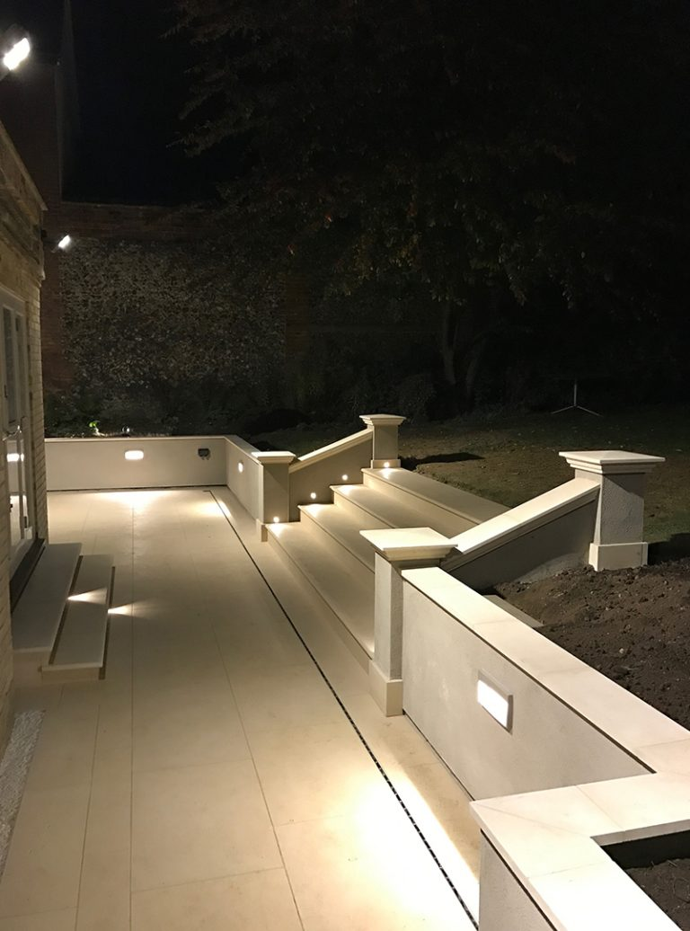 Landscape Lighting Design | Specialist landscaping | Stone Paving | Landscape Architect | Architect | Building Contractor | Design and Build | Construction | Interior Design | Building | Refurbishment | Cambridge | London | Suffolk | Essex | Saffron Walden | Hertfordshire | The Daniels Group