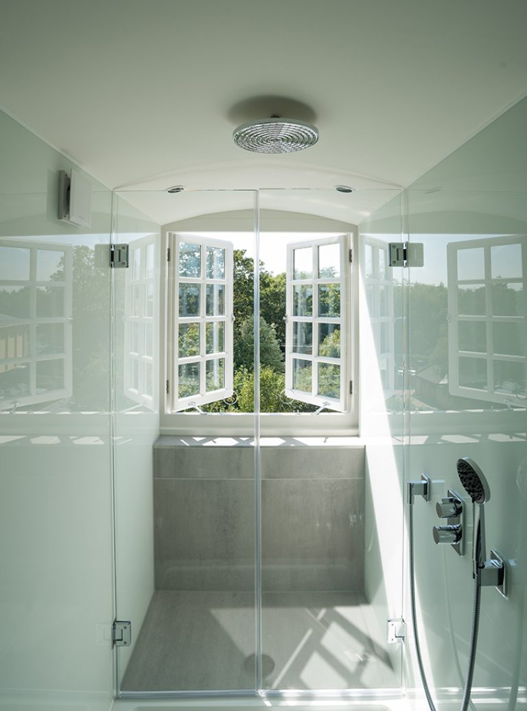 Bespoke Bathroom | Painted Glass | Professional bathroom Installation | Beautiful bathroom | Architect | Building Contractor | Design and Build | Construction | Interior Design | Building | Refurbishment | Cambridge | London | Suffolk | Essex | Saffron Walden | Hertfordshire | The Daniels Group