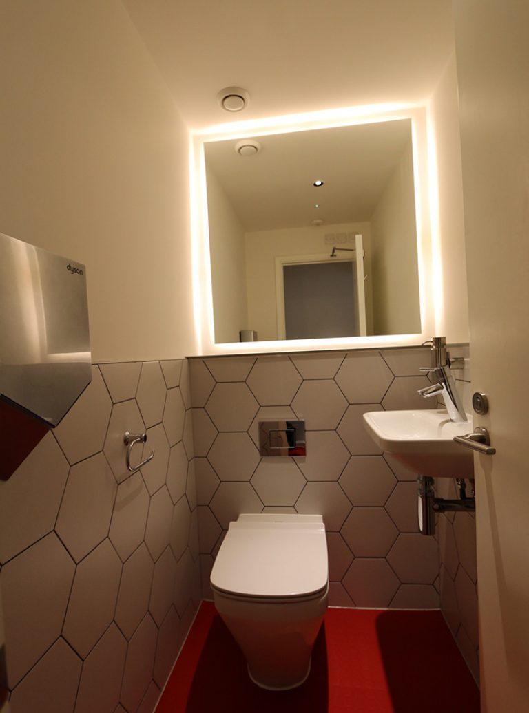 Fit Out | Restaurant Bathroom | LED Mirror Lighting | Bespoke Bathroom | Architect | Building Contractor | Design and Build | Construction | Interior Design | Building | Refurbishment | Cambridge | London | Suffolk | Essex | Saffron Walden | Hertfordshire | The Daniels Group